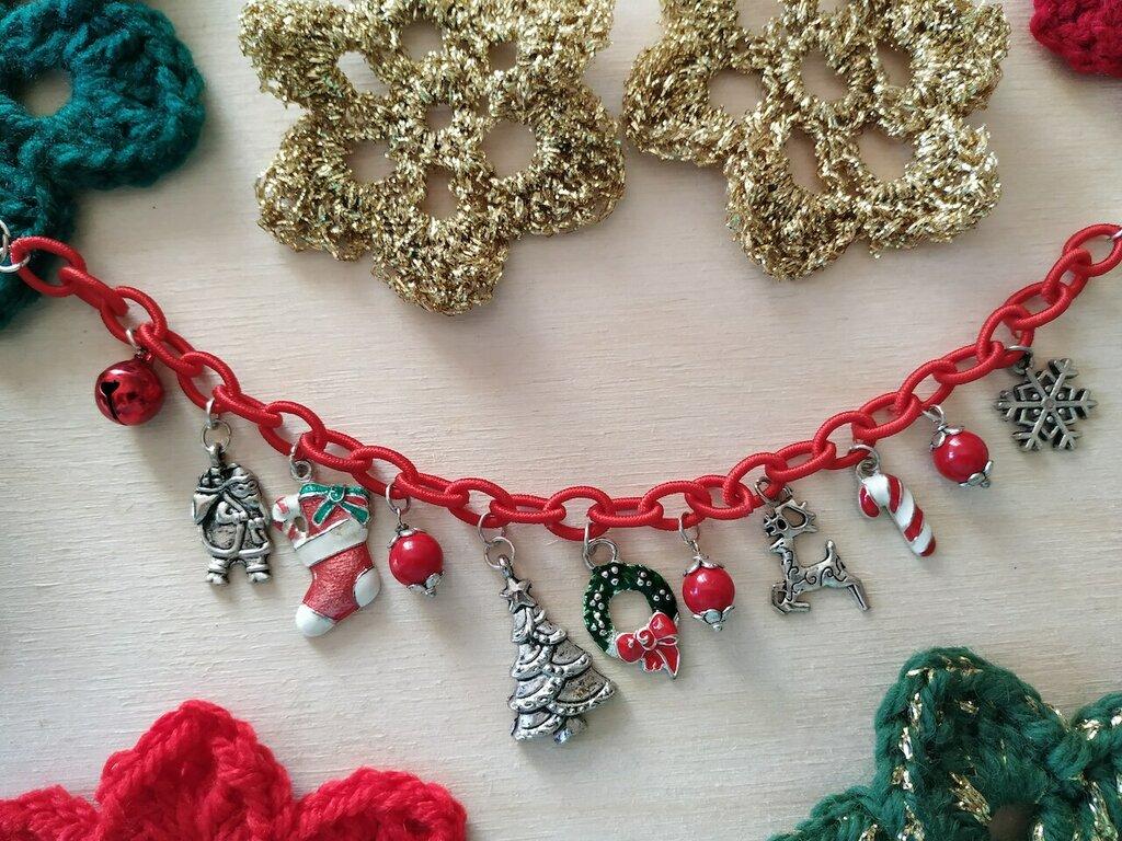 Bracciale natalizio catena rossa