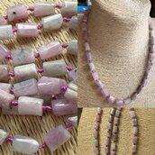 Originale collana di Kunzite  grezza ma anche di altre pietre