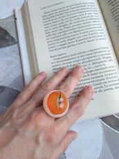 Anello fiori donna anello regolabile anello fatto a mano ciondolo resina anello maxi anello tondo Bougainvillea