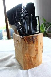 Ceppo porta utensili da cucina in legno