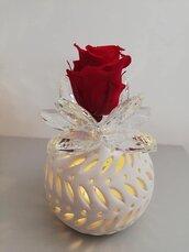 Bomboniera lampada con luce led, ninfea cristallo e rosa eterna