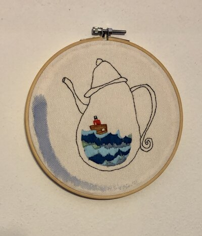 """cerchio ricamato """"barca da tè"""""""