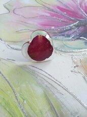 Anello donna fiori anello regolabile anello fatto a mano petalo di rosa rossa anello resina