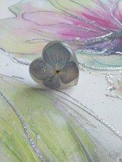 Anello fiori fatto a mano anello cuore anello donna anello regolabile donna fiori veri di ortensia