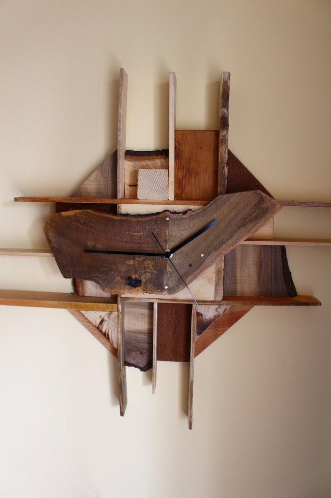 Orologio da parete in legno, quadrante in radica