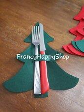 Portaposate natalizio albero rosso e verde decorazioni addobbi festa natale tavola regali di Natale fatto a mano feltro pannolenci per la tavola segnaposto
