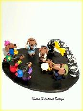 Idea regalo Natale Presepe di cani bassotti in fimo personalizzabile realizzato a mano