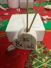 Idea regalo profumatore in ceramica Mr and Mrs