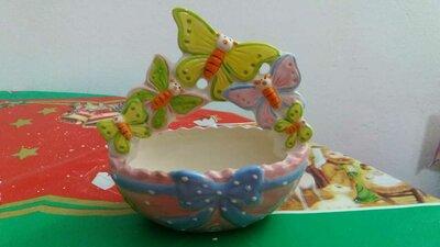 Idea regalo porta cioccolatini farfalle in ceramica