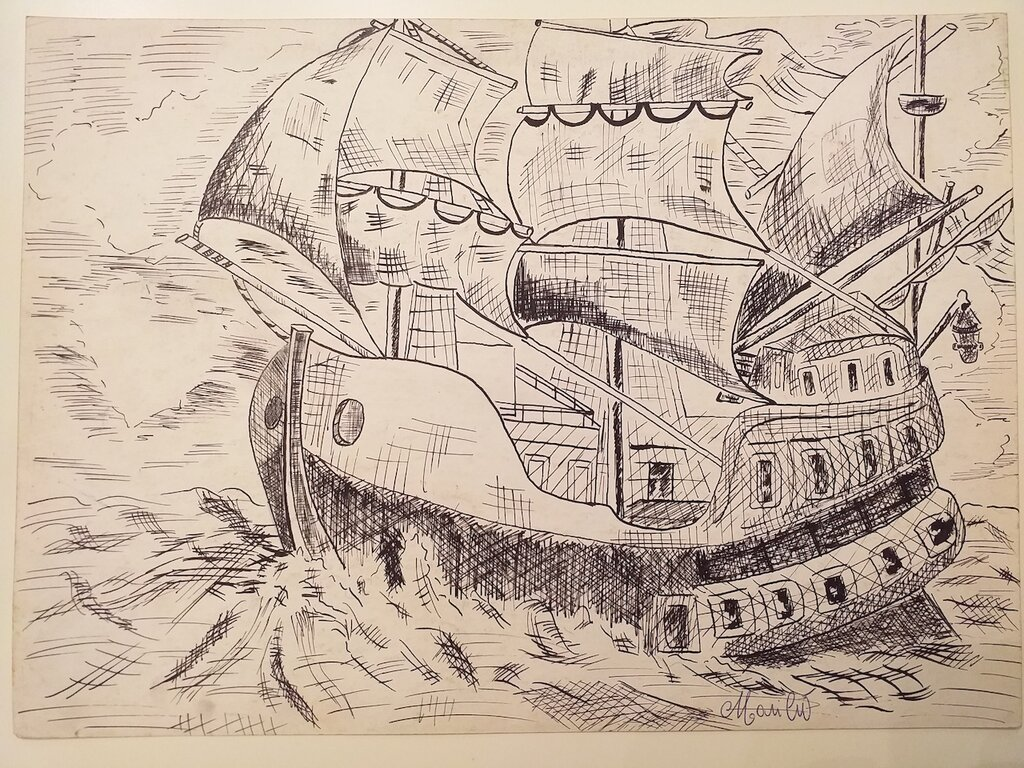 l'antico veliero nel mare aperto