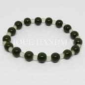 Bracciale con perle verdi