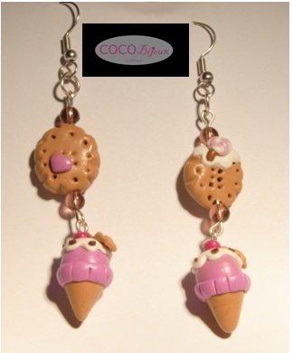 orecchini cono gelato e biscotti