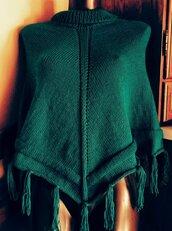 Poncho donna, poncho microfibra, poncho verde petrolio