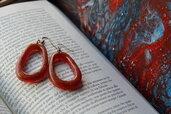 orecchini rossi geometrici