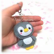 Portachiavi Pinguino Kawaii Grigio - Cute Mini Fanta Pets