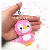 Portachiavi Pinguino Kawaii Rosa - Cute Mini Fanta Pets