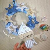 Ghirlanda fiocco nascita stelle barca con nome ricamato
