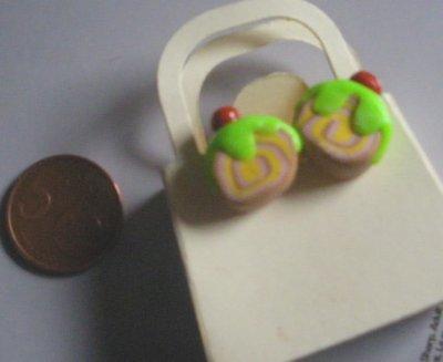 orecchini in fimo: fetta di torta