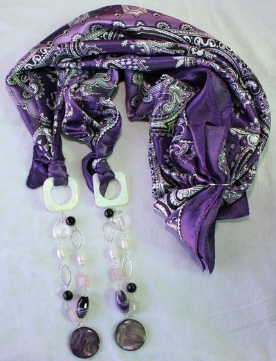 Foulard gioiello viola cashmere