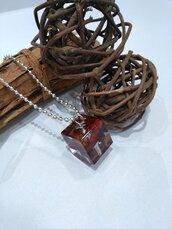 Collana lunga ciondolo resina peperoncini rossi peperoncino fatto a mano ciondolo cubo