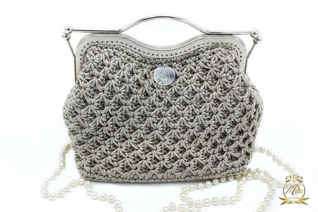 Clic clac pochette all'uncinetto borsetta elegante argento