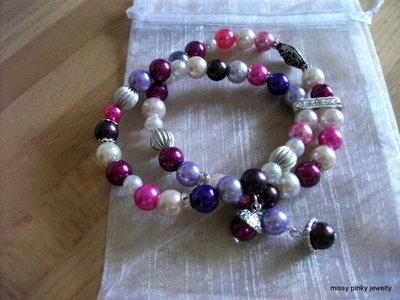 BRACCIALE FASHION viola, lilla, glicine, argento, strass