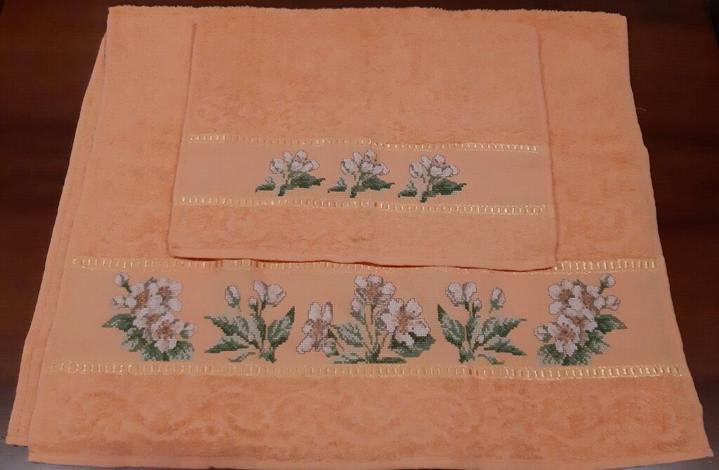 Set asciugamani 1+1 color albicocca