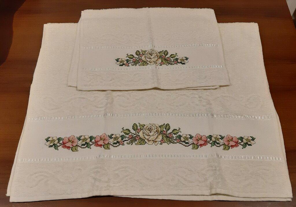 Set asciugamani 1+1 color panna