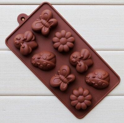 Stampo in Silicone a Farfalla - Fiore - Coccinella- Ape - Giardino - Gessi - Fondente - Decorazione Torte - Cioccolato - Sapone - Resina
