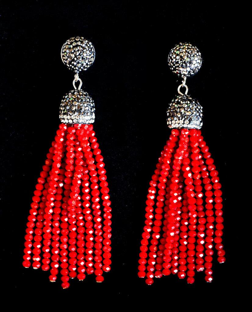 Orecchini cristalli rossi pendenti eleganti da sera