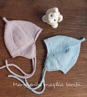 Cuffia/berrettino/cappellino neonato con paraorecchie pura lana merino - regalo nascita