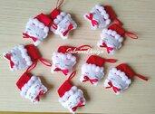 Stella Natale in fetro, decorazioni albero, palline albero, cappello babbo Natale, stelle Natale, stellina feltro