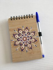 Block notes di legno con mandala