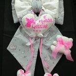 Fiocco nascita bambina personalizzato fatto a mano