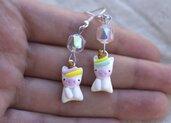 Orecchini unicorno in fimo - perla in vetro