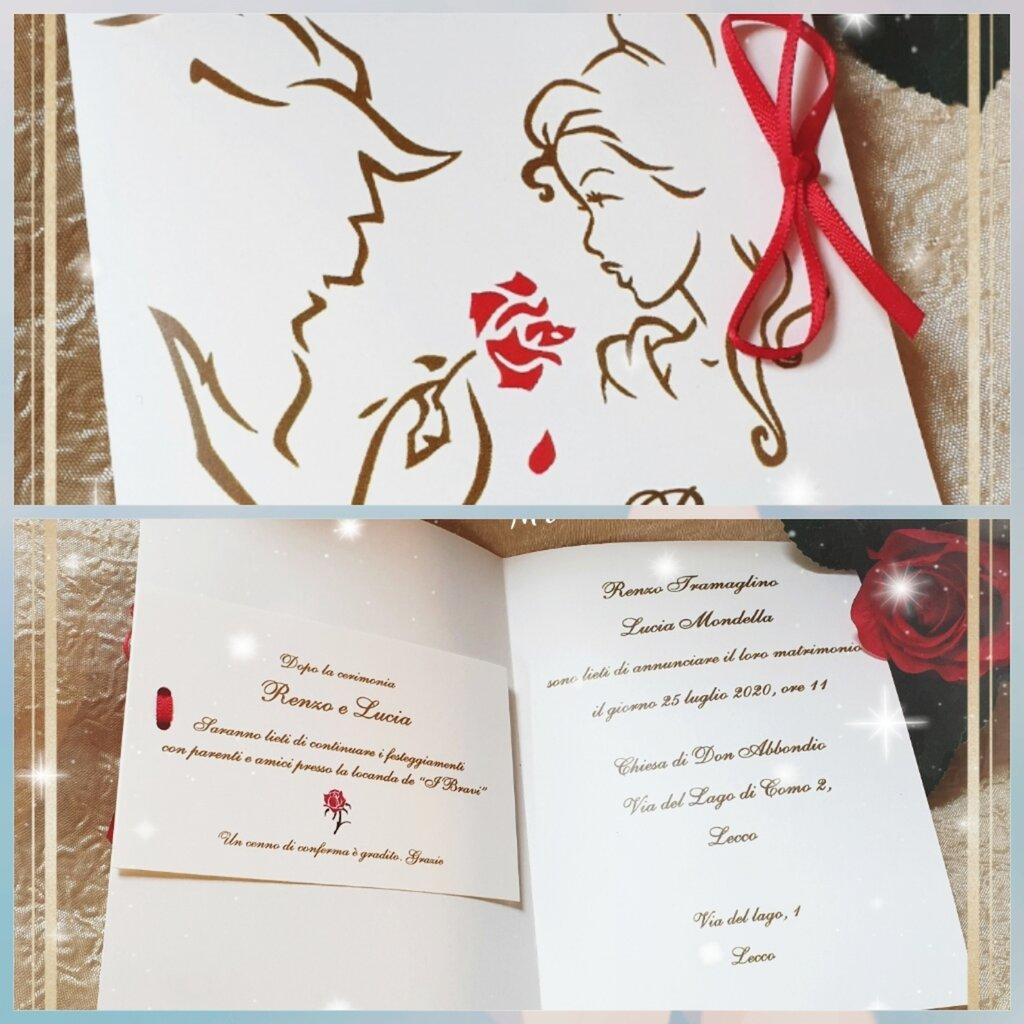 Partecipazioni Matrimonio La Bella E La Bestia.Partecipazione Bella E La Bestia 11x15 Feste Matrimonio Di