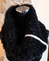 Scalda collo in lana pelliccia nero