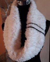 Scalda collo in lana pelliccia bianco