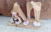 San Giuseppe, Gesù bambino e bue e asinello in ceramica