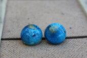 orecchini bottoncino blu