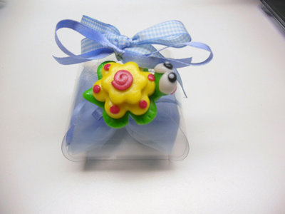 "SCATOLINE BOMBONIERE CON CHARM IN FIMO ""COLORFUL TURTLE"""