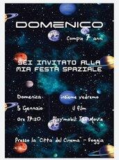 Invito digitale festa compleanno a tema galassia, spaziale
