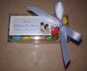 Biglietti confetti Nascita/Battesimo in cartoncino perlato Topolino/Minnie baby