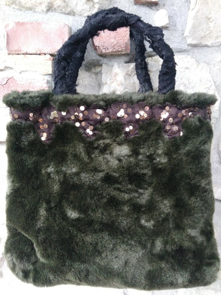 Borsa in eco pelliccia verde