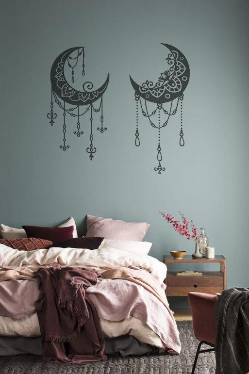 Adesivi murali coppia di lune boho