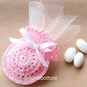 Sacchetto porta confetti rosa per nascita o battesimo