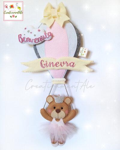 Fiocco Nascita - Mongolfiera con orsetta ballerina