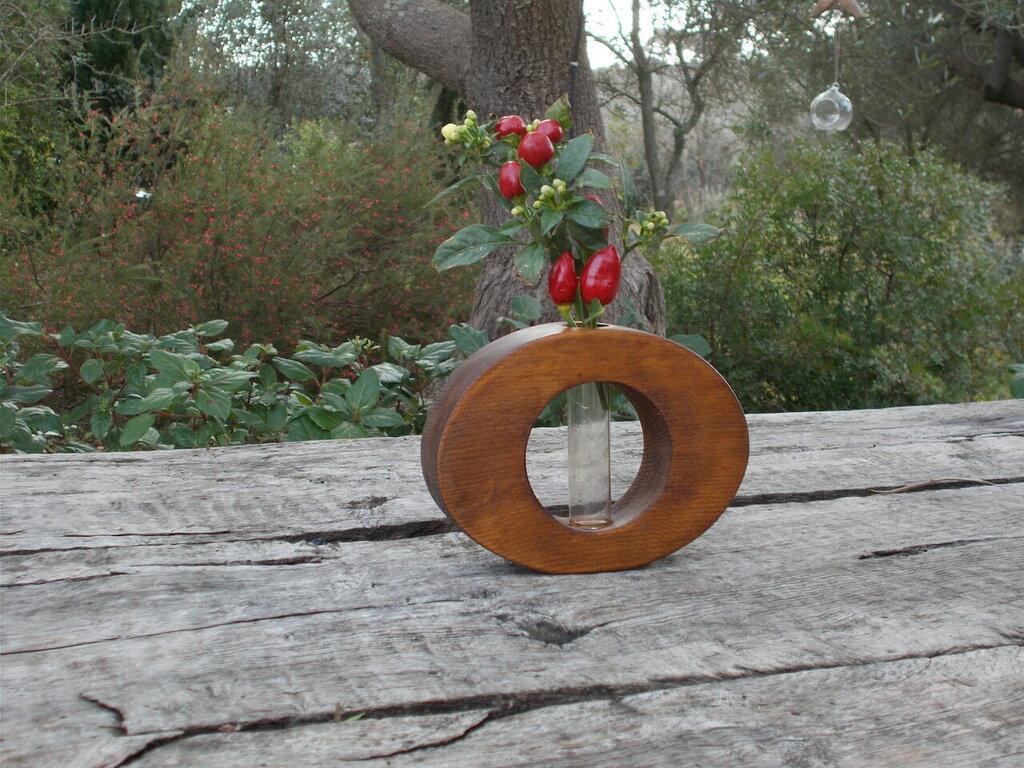 Portafiori in legno, vaso per fiori in legno