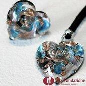 Cuore Gemma Azzurro - Parure in vetro di Murano