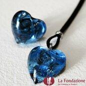 Cuore Gemma Blu - Parure in vetro di Murano